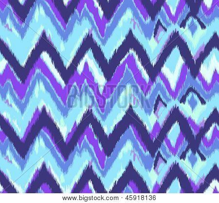 blue ikat zig zag seamless vector background