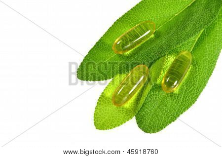 fish oil capsules on sage leaves isolated on white