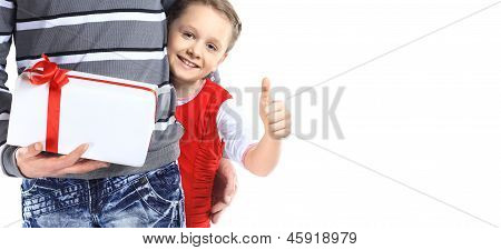 Girl hugging her father with gift box - isolated over a white background