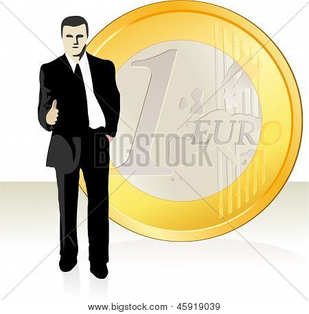 Businessman  Stretching Out His Hand In Front Of The Euro Coin.eps