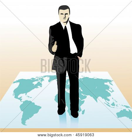 Businessman Standing On The World`s Map And Stretching Out His Hand.eps