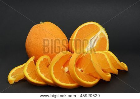 Oranges isolated on a black background