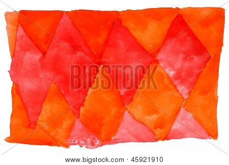art daub watercolor orange red ornament background abstract pape