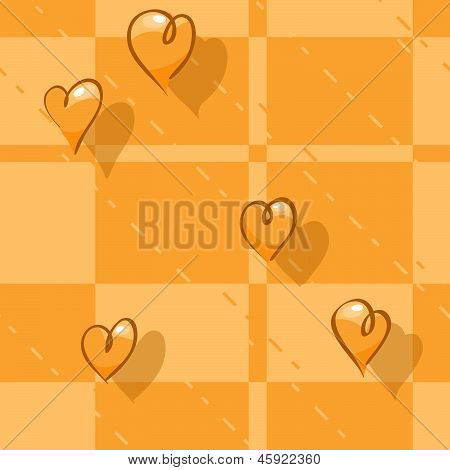 Vector Seamless Checkered Background. Print Tablecloth With Hearts