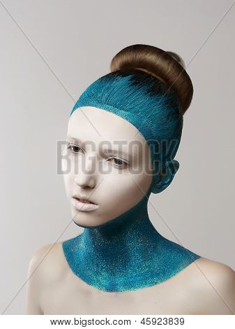 Expression. Fantasy. Eccentric Woman With Blue Painted Skin And Hair. Coloring