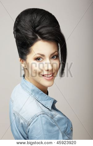 Happiness. Charisma. Sexy Brunette In Blue Jeans Jacket. Refinement