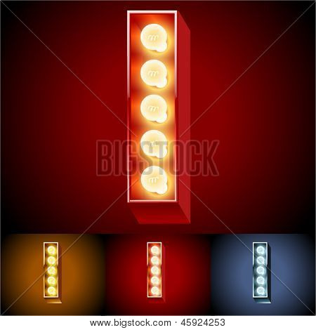 Vector illustration of realistic old lamp alphabet for light board. Red Gold and Silver options. Letter I
