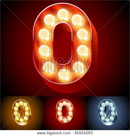 Vector illustration of realistic old lamp alphabet for light board. Red Gold and Silver options. Number  0