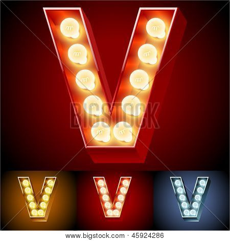 Vector illustration of realistic old lamp alphabet for light board. Red Gold and Silver options. Letter V