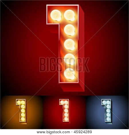 Vector illustration of realistic old lamp alphabet for light board. Red Gold and Silver options. Number  1