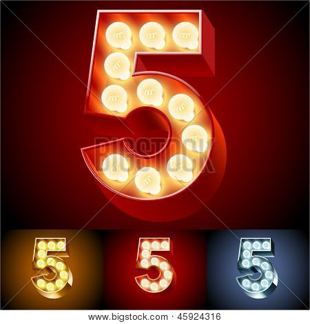 Vector illustration of realistic old lamp alphabet for light board. Red Gold and Silver options. Number 5