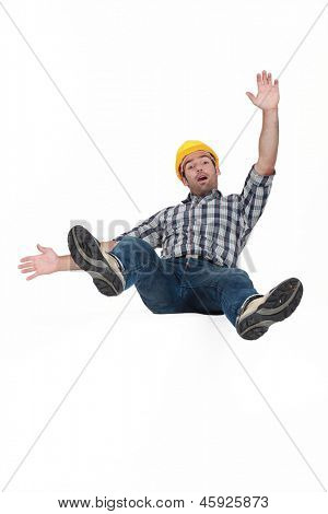 Tradesman falling through the air