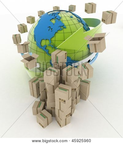 3d cardboard boxes around globe on white background. Worldwide shipping concept.