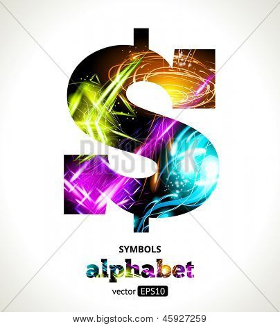 Vector Customizable Light Effect Alphabet. Design Abstract Symbol $. Dollar