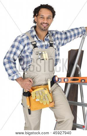 Carpenter wearing a toolbelt