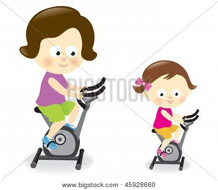 Mother and daughter riding exercise bikes