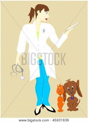 mujer de veterinario con perro y gato