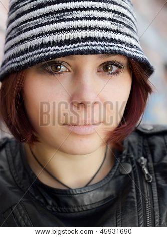Closeup woman ingrunge style with running eyes