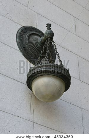 Street lamp on the side wall of the Union Station in Washington DC - United States