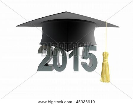 Graduation Cap 2015 On A White Background