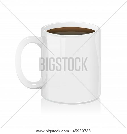 White coffee cup isolated. Vector