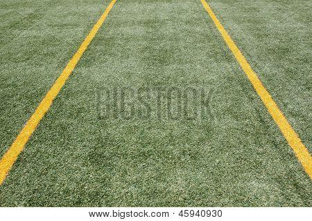 Two yellow strips on green turf