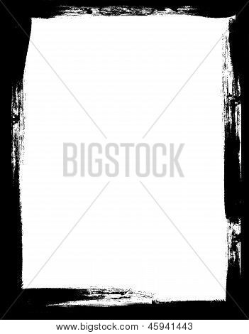 Grunge Border Frame With Dark Black Painted Brush Strokes