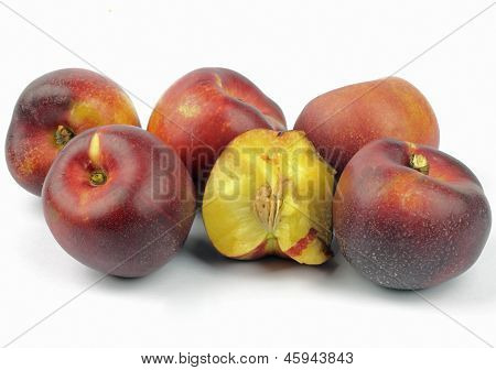nectarines on the white background