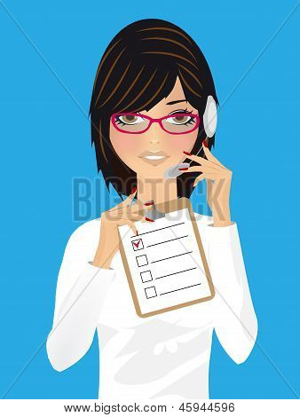 Woman in office, receptionist, operator