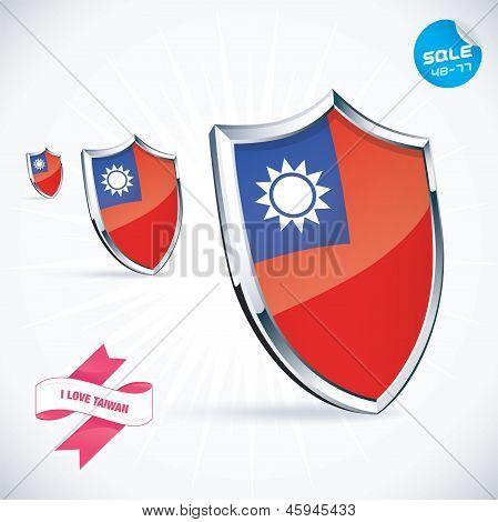 I Love Taiwan Flag Illustration
