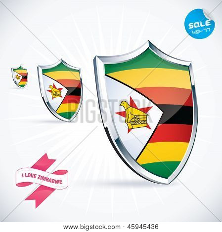 I Love Zimbabwe Flag Illustration