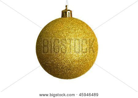 Golden Christmas Ball Isolated Over White Background