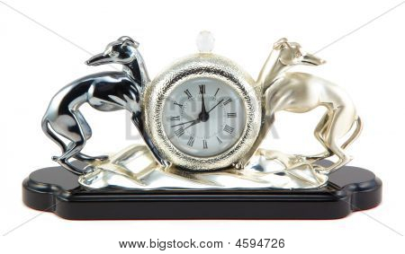Retro-styled Clock With Two Dogs Figure