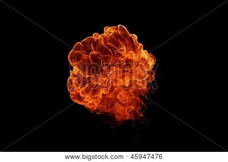 Fireball Isolated On Black Background