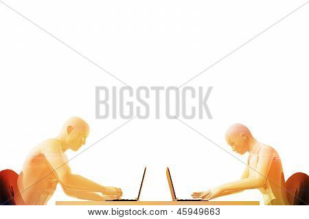 Man And Woman Using Laptop Computers