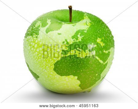 Green apple representing earth with drops on it on white background