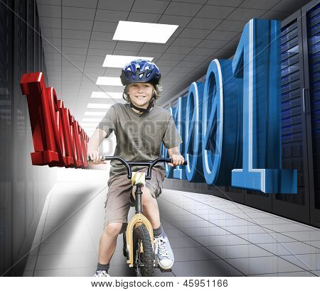 Happy boy on a bike in data center with 3d blue and red binary code