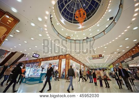MOSCOW - NOV 4: People in shopping gallery of supermall RIO at Dmitrovsky highway, November 4, 2012, Moscow, Russia. Shopping center RIO occupies plot of 10 hectares.