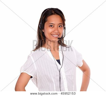 Charming Asiatic Young Woman Using Headphones