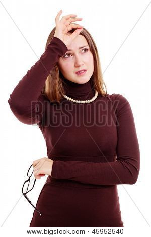 Feeling bad young woman with black glasses touching her forehead. Isolated on white background, mask included