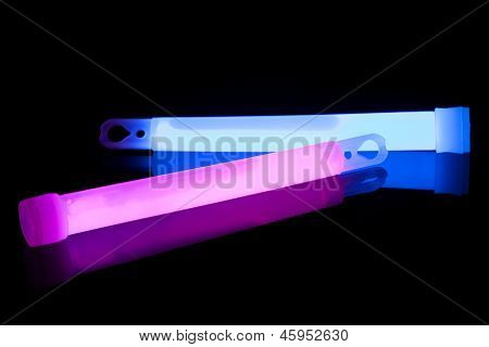 Blue and purple glow sticks