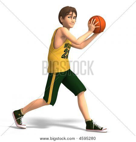junger Mann spielt basketball