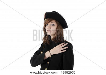Young Girl In French Black Hight School Uniform