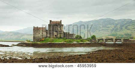 Eilean Donan castle on a cloudy day, Scotland. UK