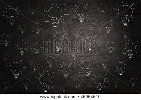 Blackboard With Light Bulbs Picture