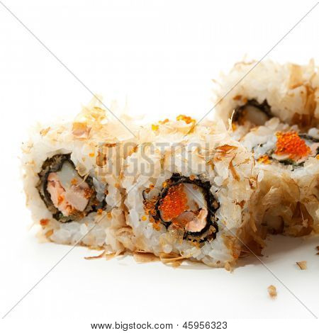 Bonito Maki Sushi - Rolls with Seafood inside. Dried Shaved Bonito outside