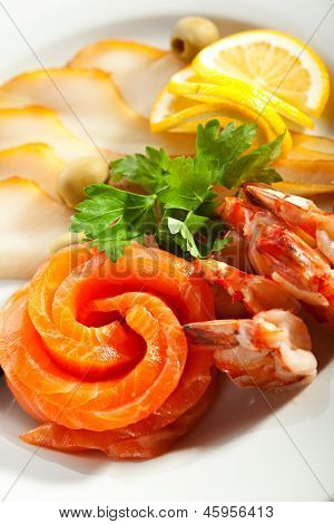 Seafood Plate - Fish with Shrimp and Lemon Slice