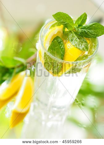 a glass of mineral water with lemon and mint