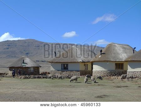 Traditional style of housing in Lesotho at Sani Pass at altitude of  2,874 m