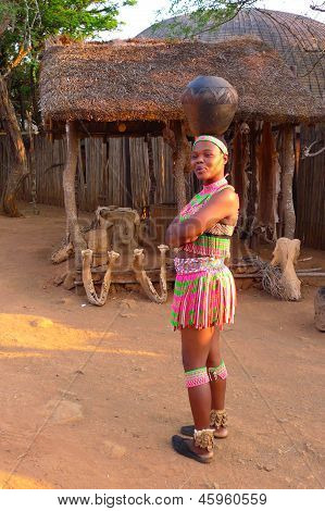 Zulu women in traditional closes in in Shakaland Zulu Village, South Africa